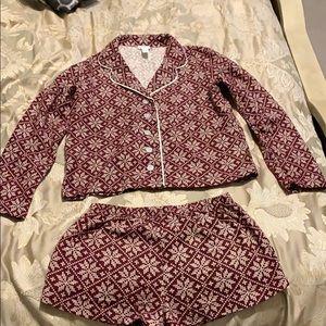 Forever 21 holiday pajama flannel short set